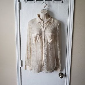 Bebe Lace Long Sleeve Button down